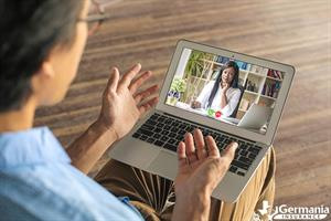 Video conference with insurance agent asking umbrella insurance questions
