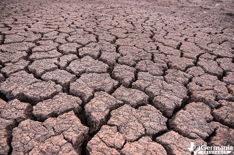 Cracked and damaged ground during a drought