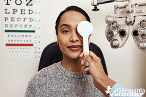 A woman getting an eye exam to identify common eye problems