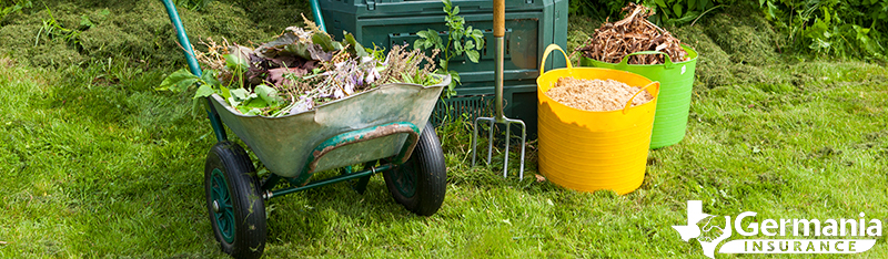 Garden tools used for the basics of composting.