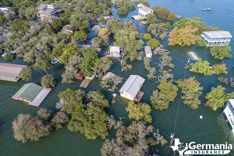 A series of houses flooded in Texas