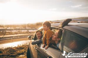 A young Texas family in their car on the side of the road.